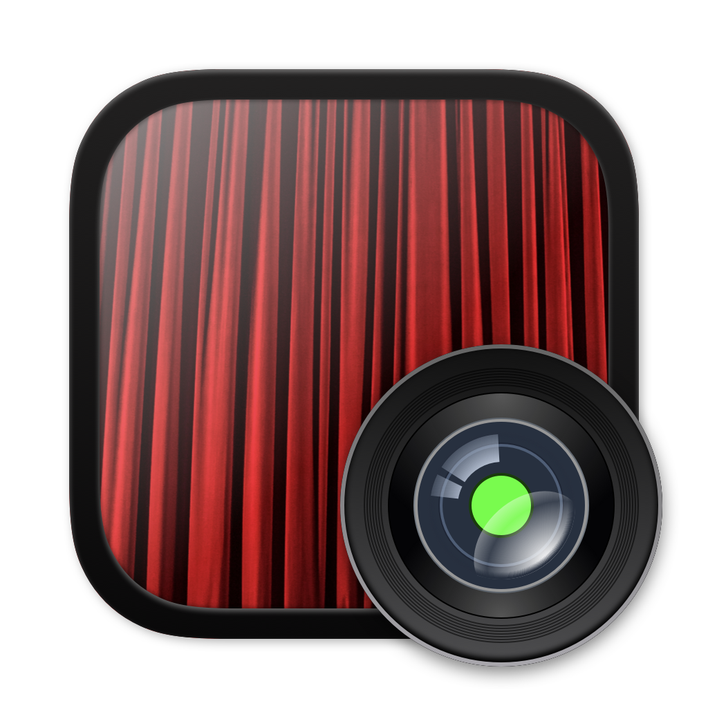 App Icon, which is made up of a iOS 6 Camera icon inspired camera lens, with the same green dot from the built-in camera in Macs, a handmirror with Rafa's face looking kinda stupid to be honest. That reflection has a red curtain as a background, throwback to Photo Booth.